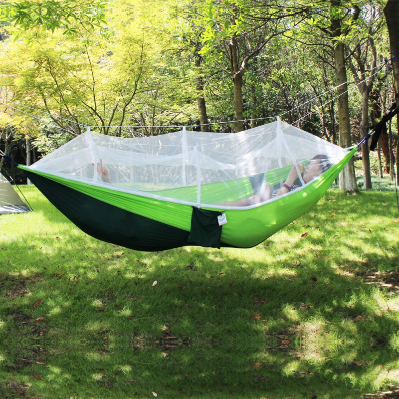 Outdoor hanging hammock bed with mosquito net double for Net hammock bed