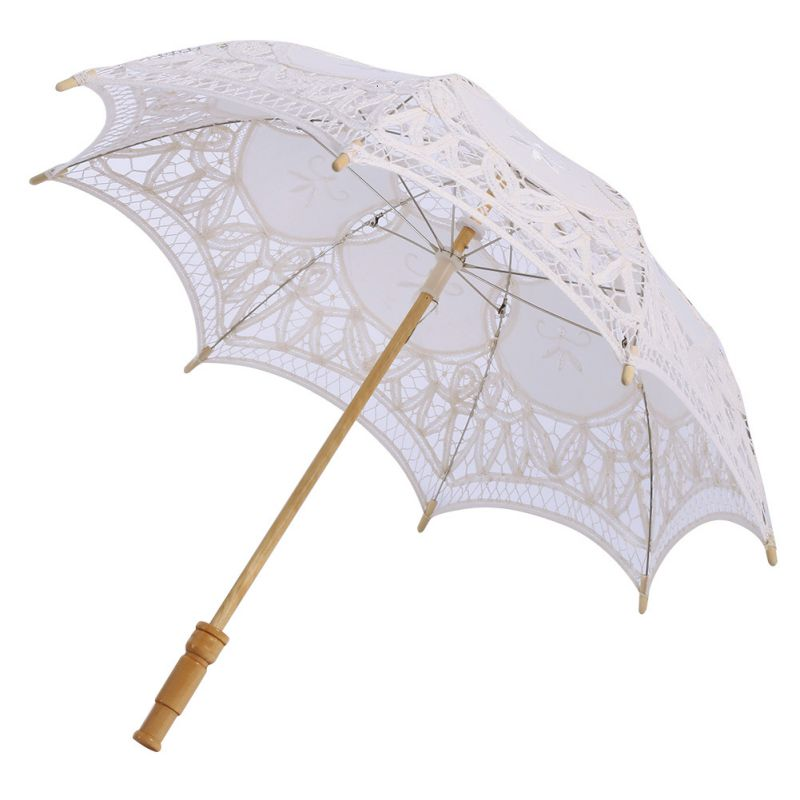 68c798d5c5ae US Lace Parasol Umbrella Vintage Bridal Wedding Party Decoration Child Gift