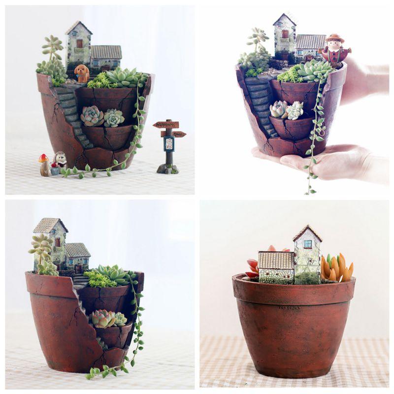 Natural Resin Cute Flower Pot Plant Succulent Planter