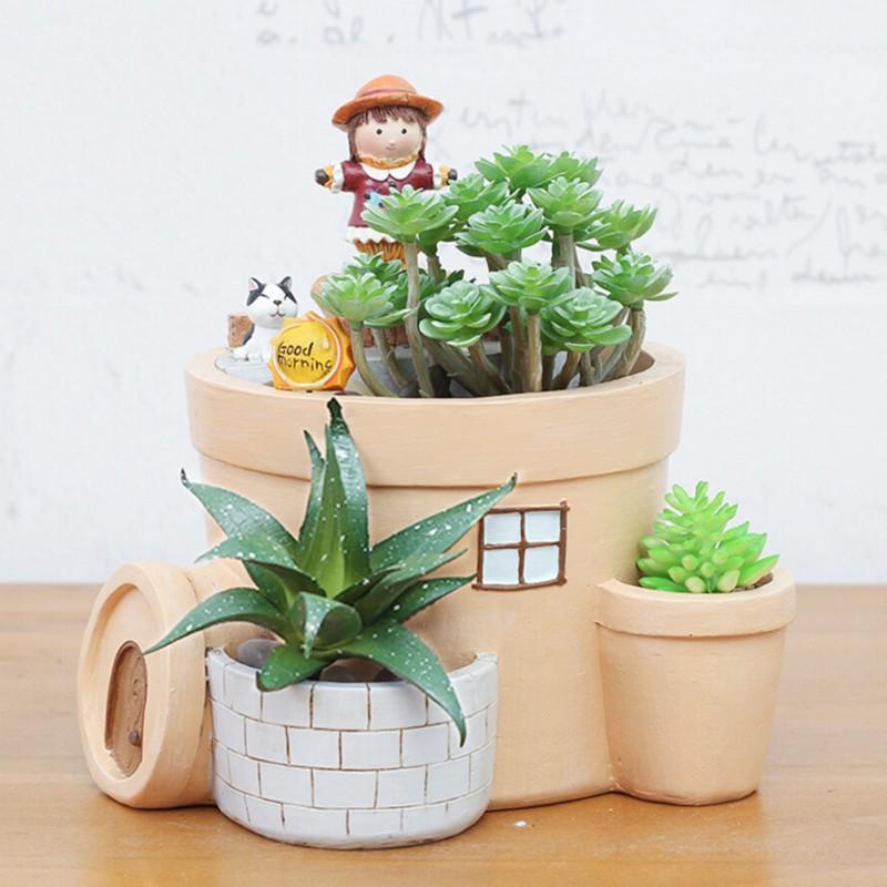 Succulent plant home garden decoration plant flower pot natural resin flowerpot ebay - Flowering succulent house plants ...
