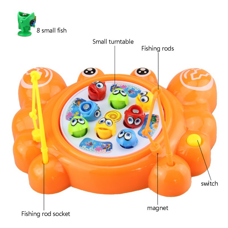 Cute Electric Rotating Magnetic Magnet Fishing Fish Toy Kids Toys ...