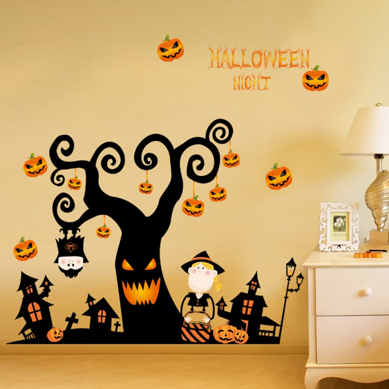 Horror Ghost Witch Wall Sticker Home Decor Halloween Removable Scary ...