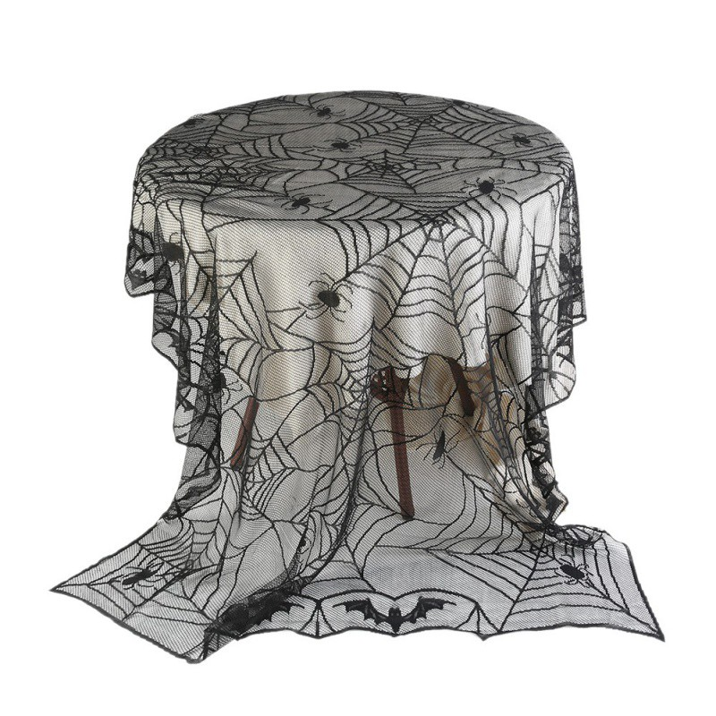 Halloween Black Lace Spiderweb Cloth Tablecloth Bat Spider