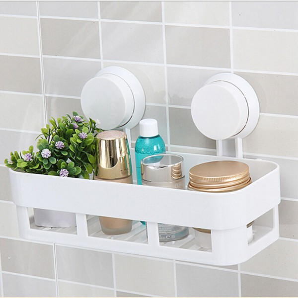 Plastic bathroom corner shelf suction shower bath soap for Bathroom tray for toiletries