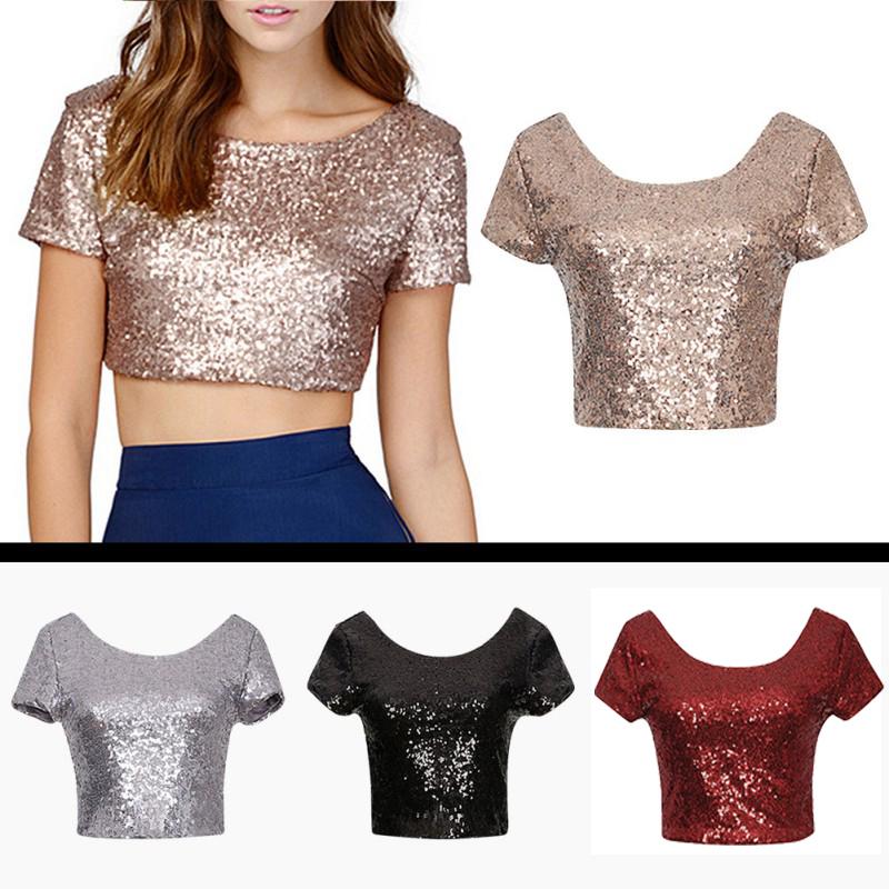 new sequins crop tops women summer t shirts short sleeve. Black Bedroom Furniture Sets. Home Design Ideas