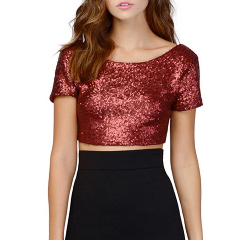 2017 women sequins crop tops t shirts summer shirt short for Best short sleeve shirts