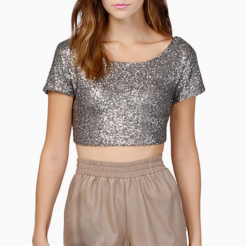 New Sequins Crop Tops Women Summer T Shirts Short Sleeve ...