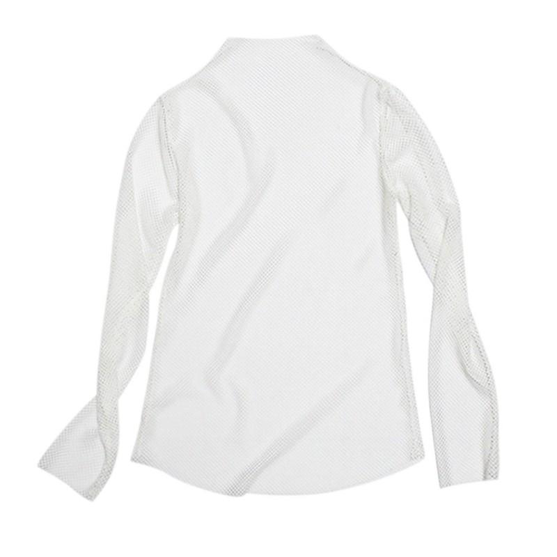 Womens-Fishnet-High-Neck-Blouse-Lady-See-Through-Tops-Long-Sleeve-Shirt-Clubwear