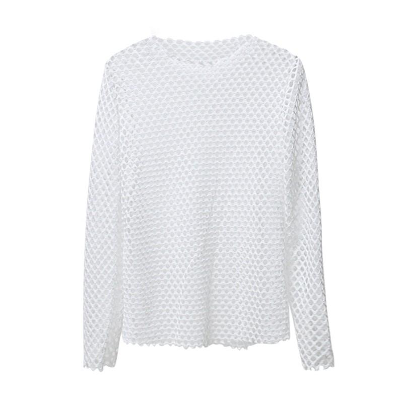 Women hollow mesh net t shirt short long sleeve tee tops for Mesh long sleeve t shirt