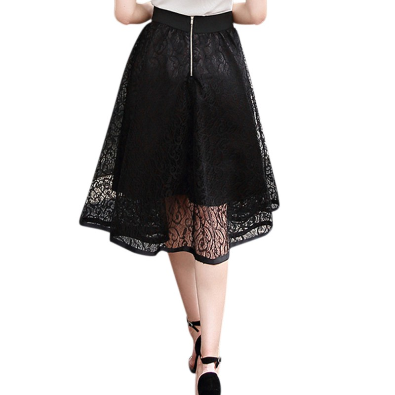 Women-039-s-Summer-A-Line-Lace-Floral-Skirt-Elastic-High-Waist-Midi-Dress-Skirts-AU