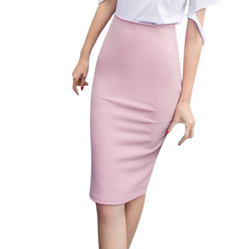 womens stretch bodycon midi office high waist