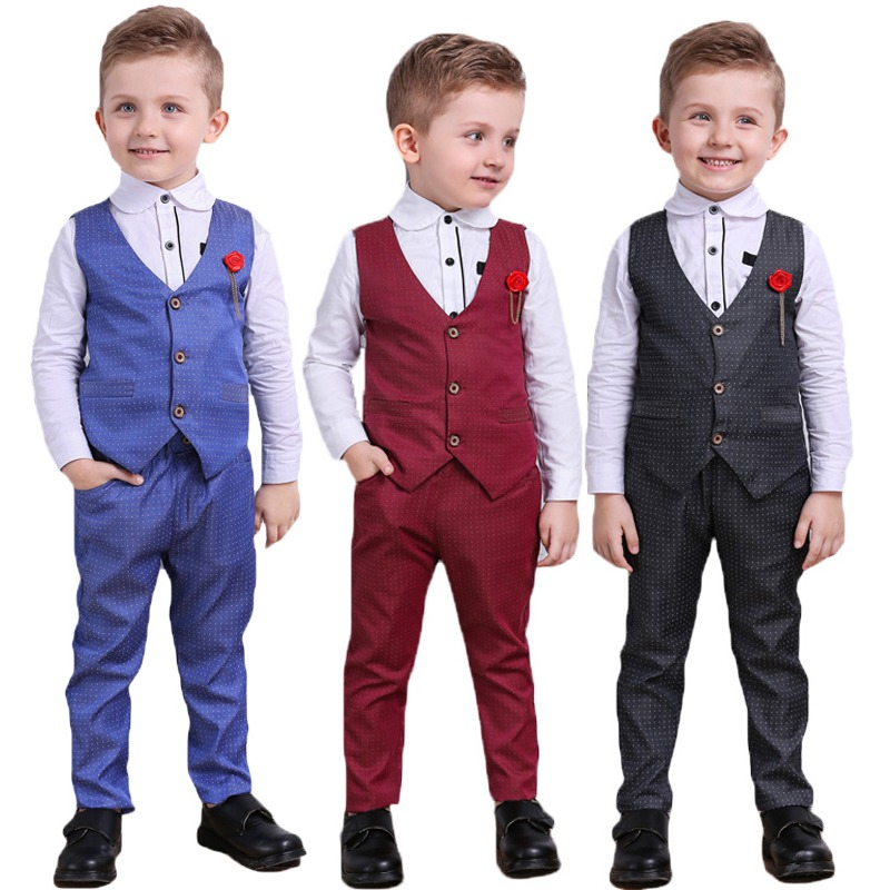 Boys Kids Gentleman Formal Suit Tuxedo Dress Christening Waistcoat Shirt Pants