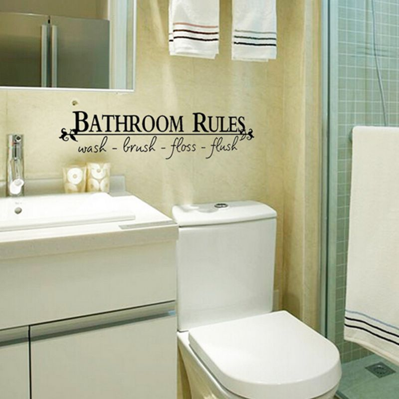 Bathroom Toilet Rules Removable Wall Sticker Vinyl Art ...
