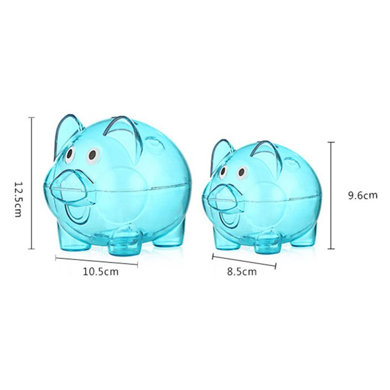 Clear plastic chubby pig piggy bank saving coin box gift Plastic piggy banks for kids