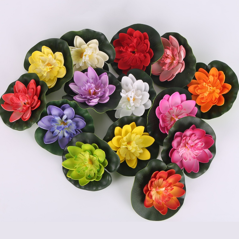 Fake artificial water lily floating flower pond tank plant for Artificial pond plants sale