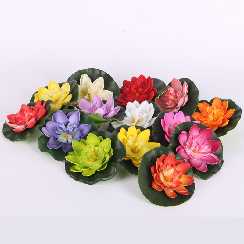 Fake artificial water lily floating flower pond tank plant for Floating flowers in water