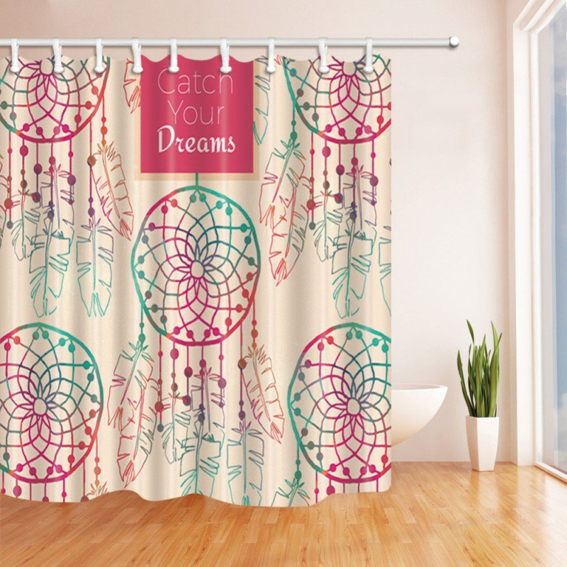 Bathroom Shower Waterproof Dream Catcher Curtain Sheer Panel