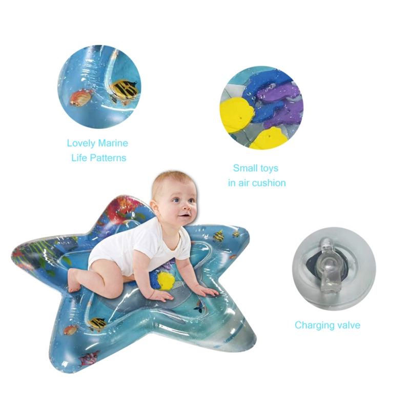 Inflatable Baby Water Mat Novelty Play for Kids Children Infants Tummy Time USA Star