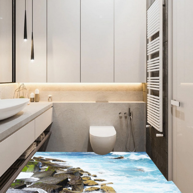 3D Floor Wall Stickers Removable Starfish Dolphin Bathroom Decor ...
