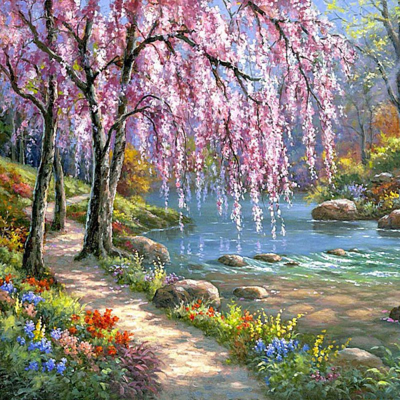 16x20 natural scenery paint by number kit diy digital oil painting