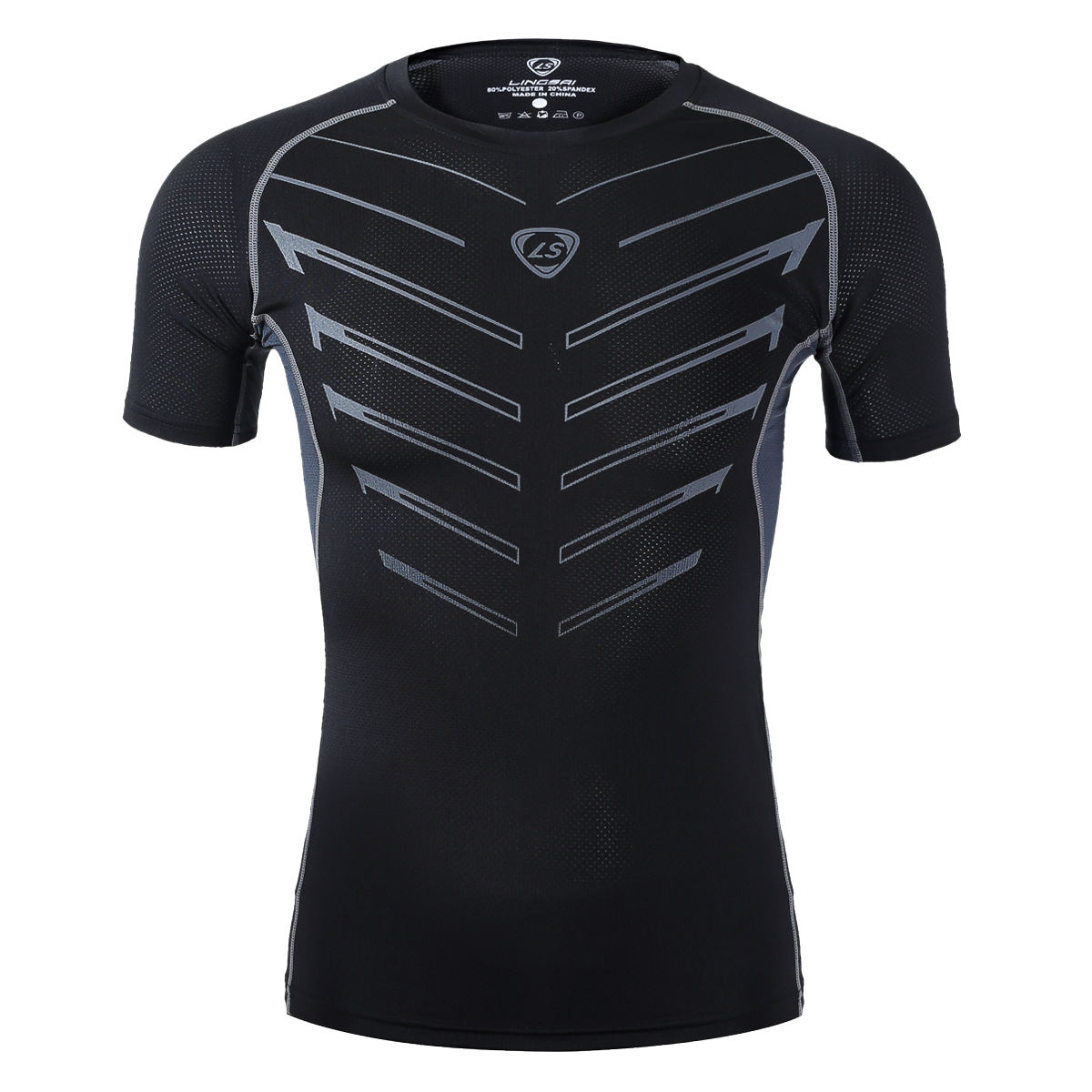 Mens athletic compression fitness running base layer sport for Compression tee shirts for men