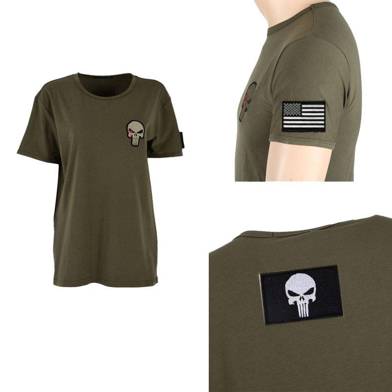 Cool men women skull print short sleeve shirt army combat for Plain t shirts to print on