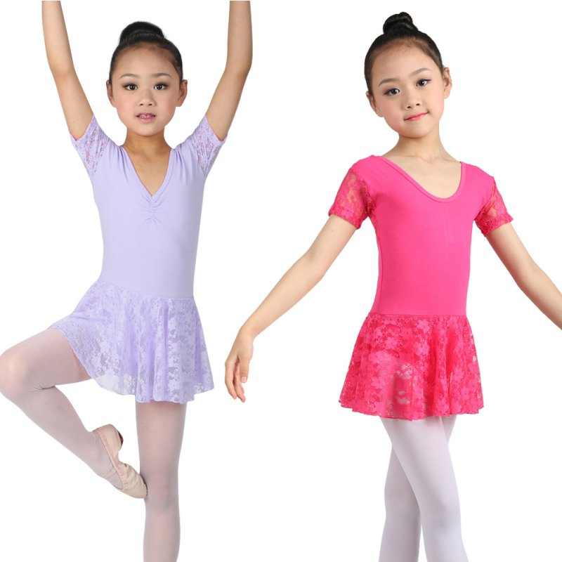 c3882495d Girl Kids Leotard Ballet Dance Dress Tutus Lace Dancewear Skate ...