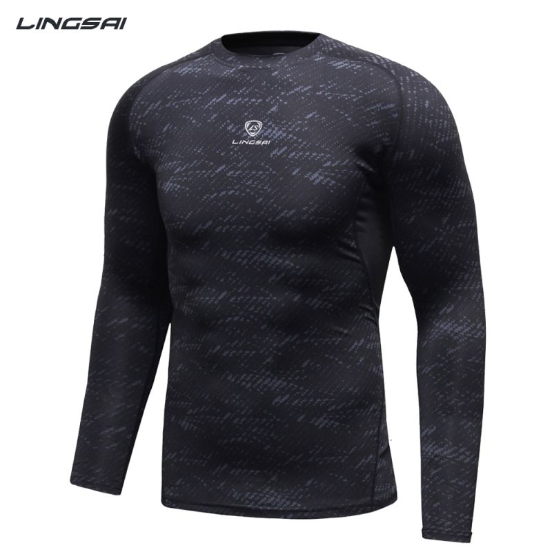 Men athletic compression base layer top thermal under long Thermal t shirt long sleeve