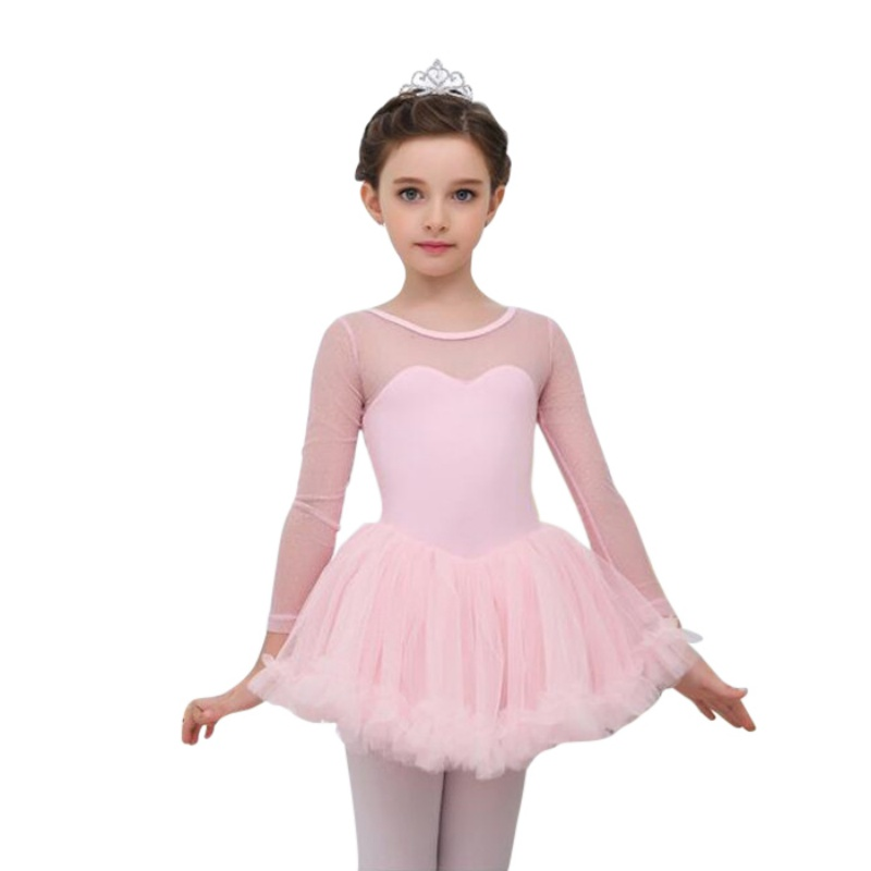 Girl-Kids-Ballet-Dance-Tutu-Dress-Gymnastics-Long-Sleeve-Leotard-Tulle-Dancewear