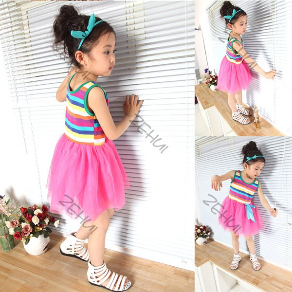 Kids-Baby-Girl-Sleeveless-Rainbow-Tutu-Princess-Skirt-Striped-Dress-5-Colors-M96