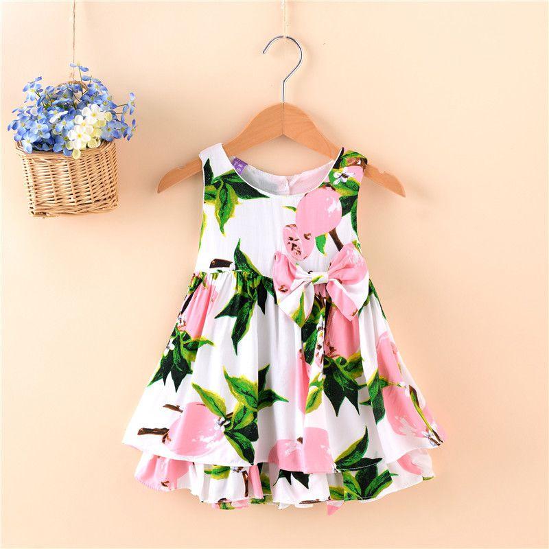Little Girl Floral Lemon Dress Bowknot Kids Sundress Kid