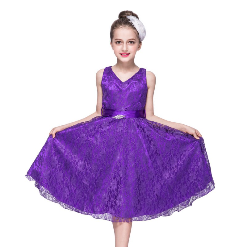 UK Kids Baby Flower Girls Party Dress Formal Wedding Bridesmaid Lace ...