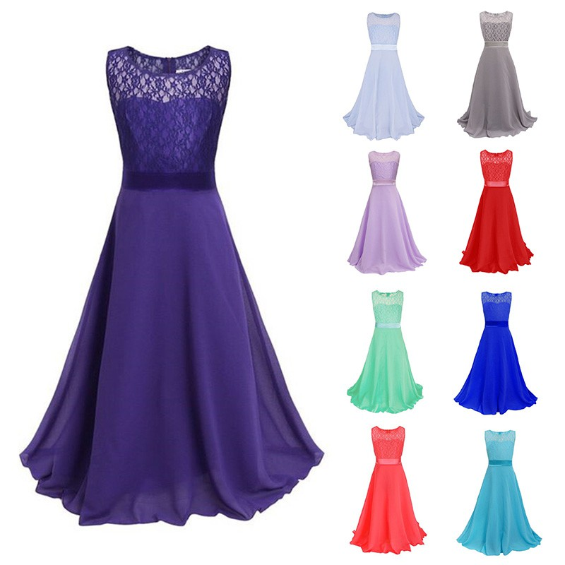 Pageant Kids Girls Lace Princess Dress Wedding Bridesmaid Party ...