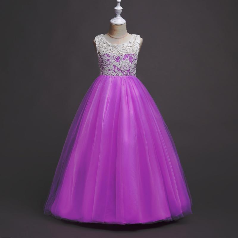 Vestido de Baile Encaje Flores Niña Vestido Maxi Largo Formal para ...