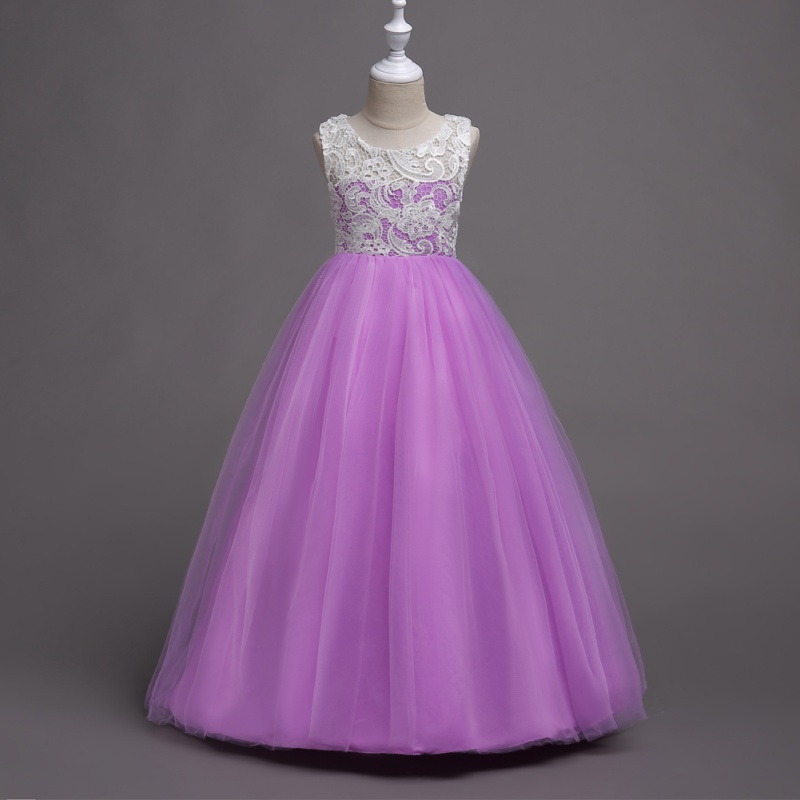 Lace Flower Girl Dress Maxi Long Formal Ball Gown for Kids Wedding ...