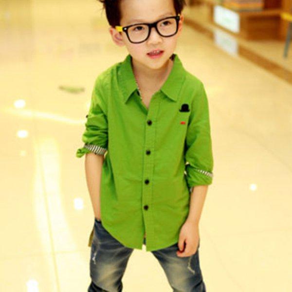 Kid Boy Clothes Long Sleeve Casual Shirt Toddler Button Down Cotton