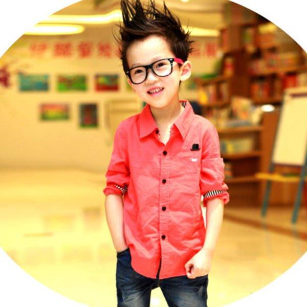 child kids baby boy long sleeve shirts lapel button down