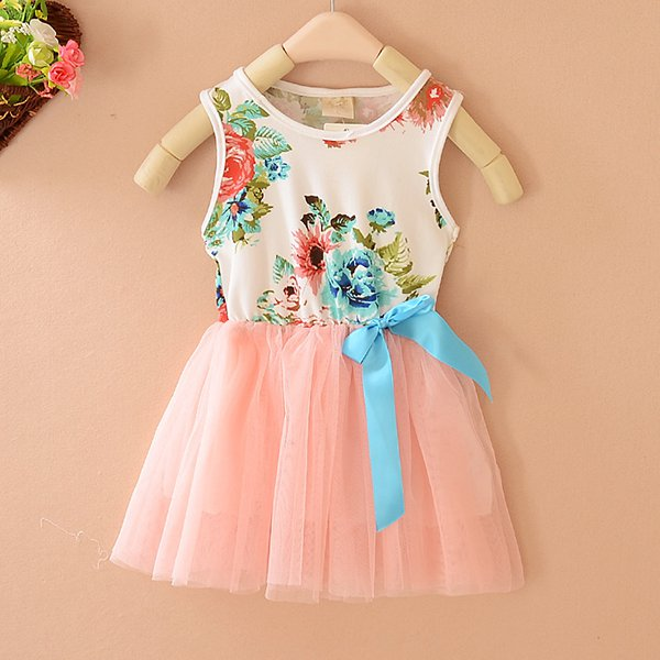 New Child Clothes Kid Baby Girls Bowknot Tulle Floral Princess Tutu