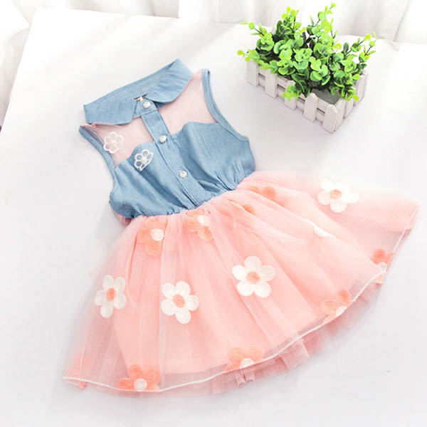 d1ae754d0aad Toddler Kids Baby Girls Floral Sleeveless Dress Princess Party Lace ...
