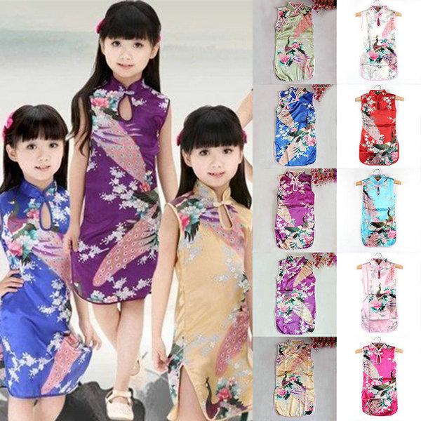 da743e4ed111 Kid Child Girl Baby Chinese Peacock Cheongsam Dress Qipao Classical ...