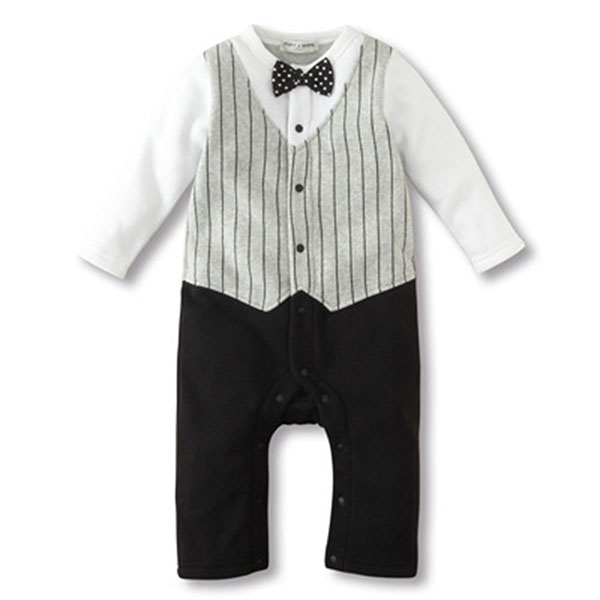 Baby Boy Wedding Formal Party Bow Tie Tuxedo Suit Romper