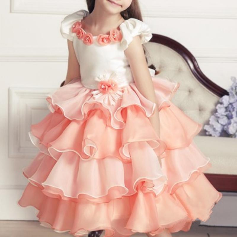 Children Girls Layered Tutu Dress Wedding Party Baby Princess Cake ...