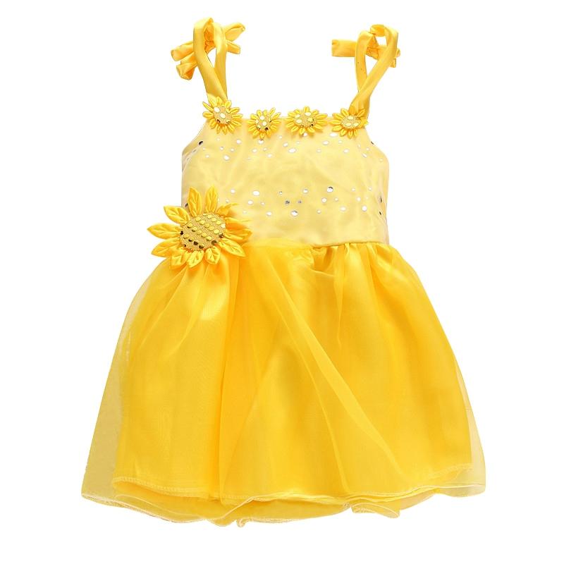 Summer baby girls infant sequin sunflower dress party for Sunflower dresses for wedding