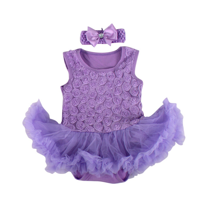 2PCS Baby Girl Princess Tutu Romper Dress Headband Infant Kids ...