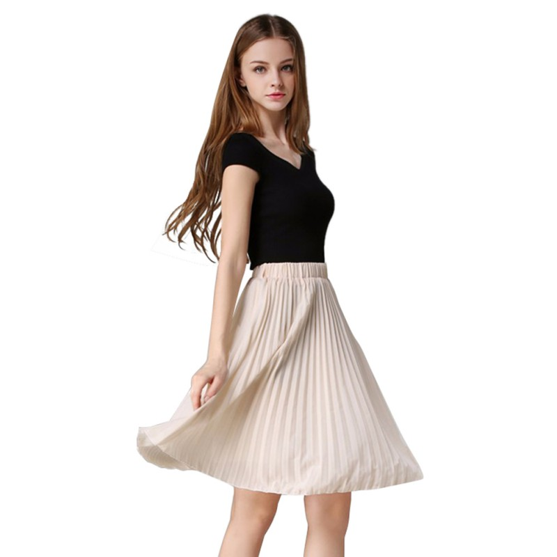 Women Lady Chiffon Skirt Plain Pleated High Waist Midi Skirt ...
