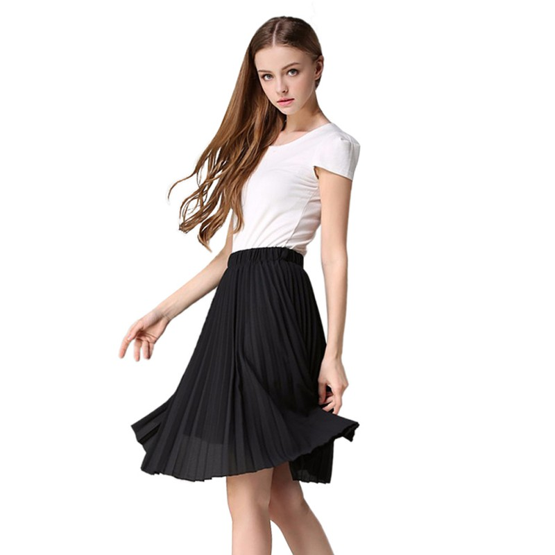 Sexy Women Summer Chiffon Skirt Pleated Above Knee Elastic ...