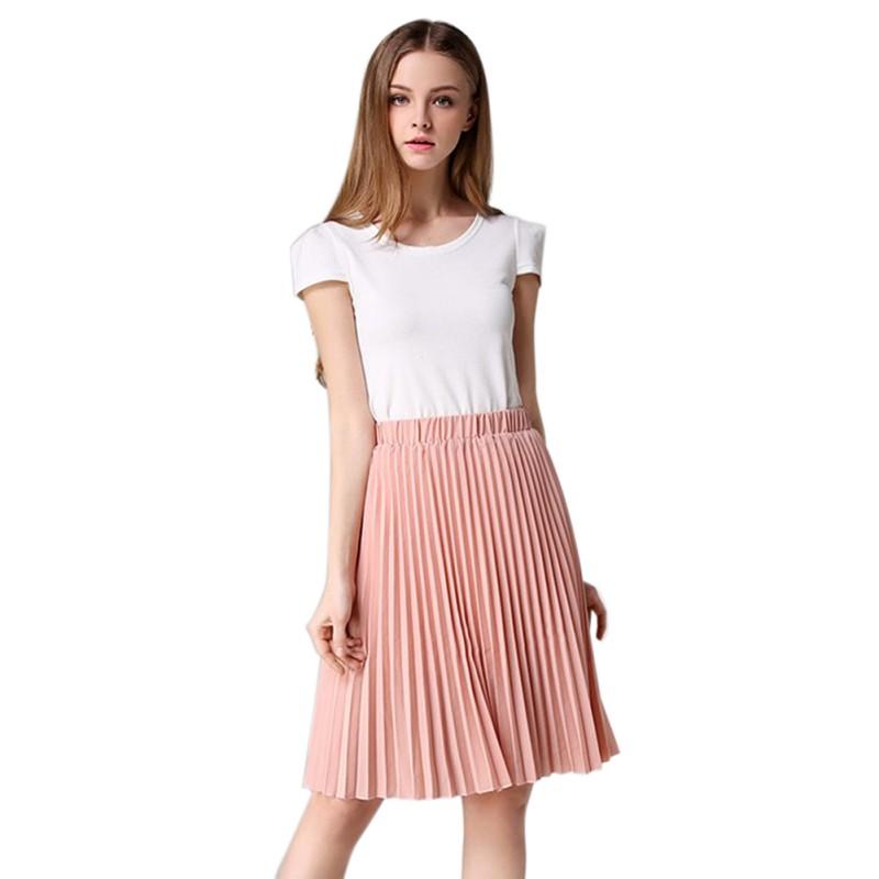 Women Chiffon Maxi Skirt Ladies Girl Elastic Waist Pleated Retro Long Dresses AU | eBay