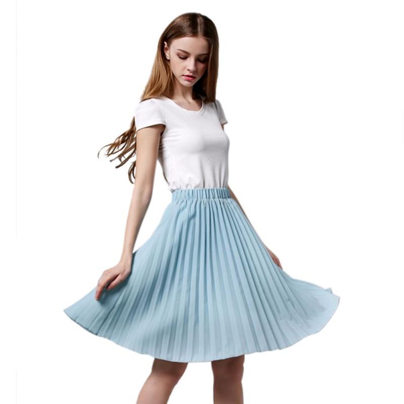 Women Elegant Stretch Pleated Skirt Tulle Skirt Chiffon ...