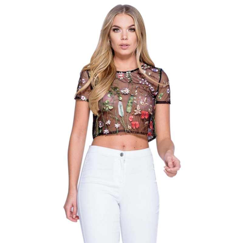 Women's Floral Embroidered Hollow Mesh T-Shirt Tee Tops Transparent Slim Blouse