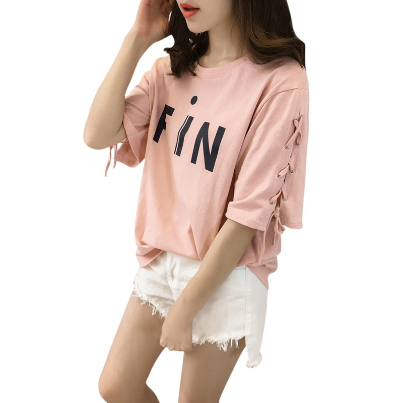 Women-Girl-Summer-Casual-Korean-Style-Short-Sleeve-T-Shirt-Top